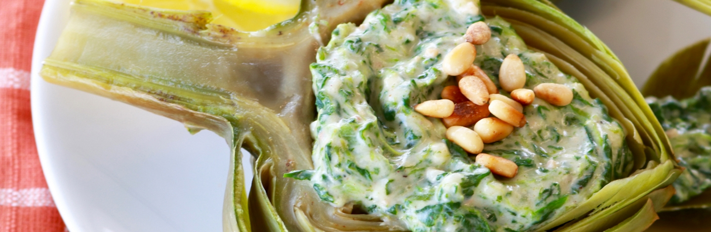 Artichoke Halves with Restaurant-Style Hot Spinach Dip