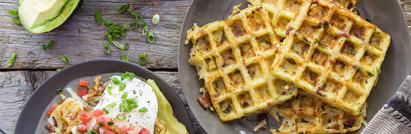 Bacon & Scallion Hash Brown Waffles