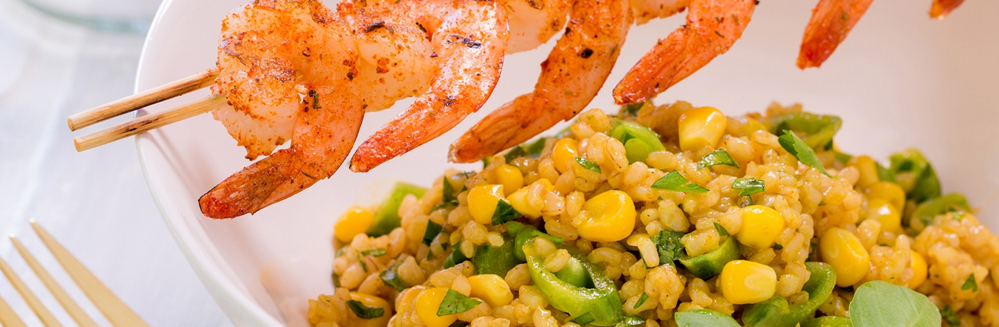 Brown Rice Salad with Blackened Shrimp and Vegetables