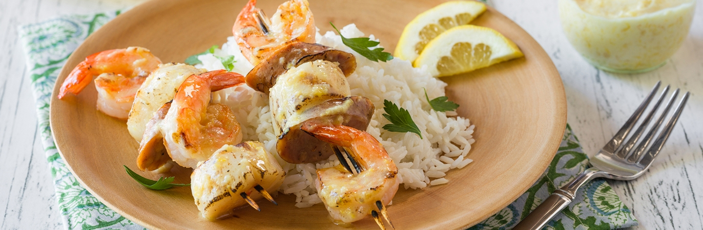 Grilled Open Nature® Summertime Skewers With Shrimp, Sea Scallops and Smoked Chicken Apple Sausage