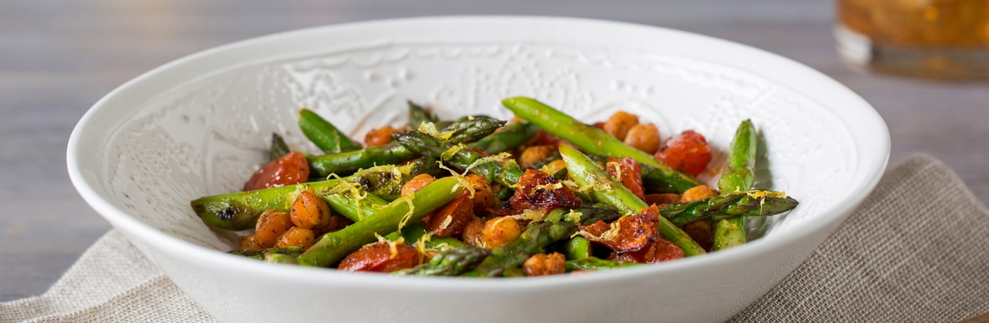 Roasted Chickpeas, Asparagus, and Tomatoes