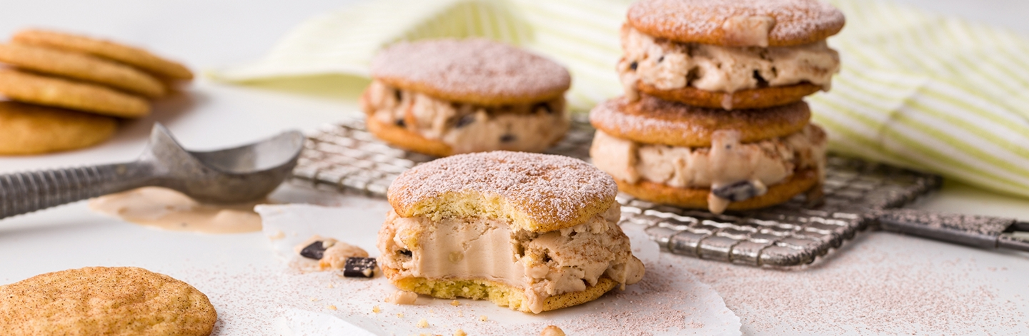 Snickerdoodle Ice Cream Cookie Sandwiches