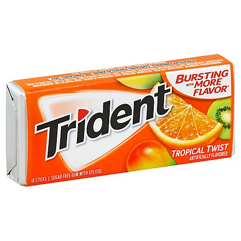 Trident Gum Sugar Free With Xylitol Tropical Twist - 18 Count