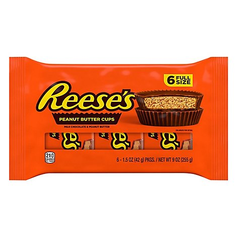 Reeses Peanut Butter Cups Milk Chocolate - 6-1.6 Oz