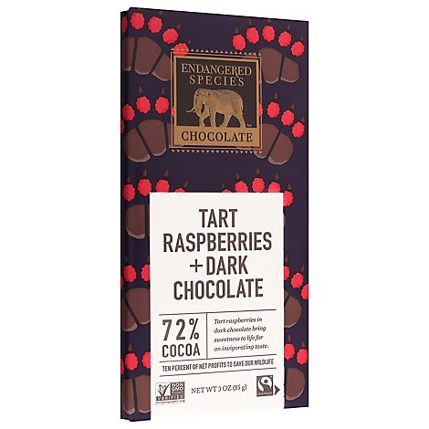 Endangered Species Chocolate Bar Dark Chocolate Raspberry Grizzly Bear 72% Cocoa - 3 Oz
