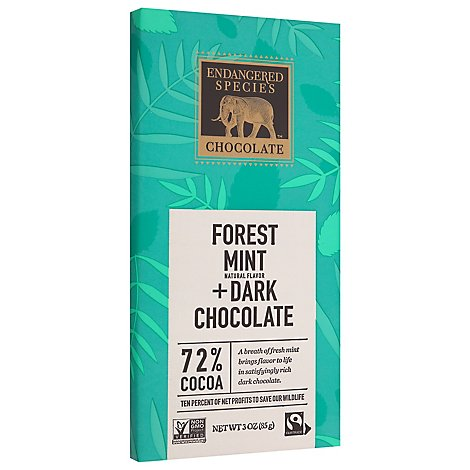 Endangered Species Chocolate Bar Dark Chocolate Mint Rain Forest - 3 Oz