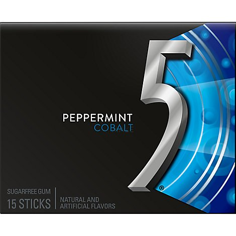 5 Gum Peppermint Cobalt Sugarfree Gum Single Pack