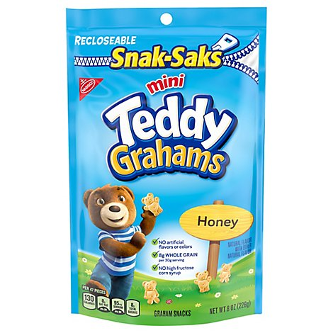 Honey Maid Teddy Grahams Graham Snacks Honey Mini Snack-Saks - 8 Oz