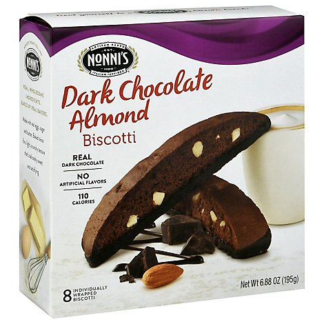 Nonnis Biscotti Dark Chocolate Almond 8 Count - 6.88 Oz