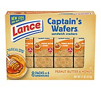 Lance Captains Wafers Crackers Sandwiches Peanut Butter & Honey On-the Go Packs - 8 - 11 Oz