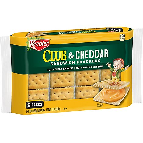 Keebler Sandwich Crackers Club and Cheddar 8 Count - 11 Oz