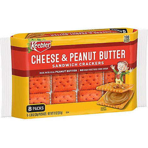 Keebler Sandwich Crackers Cheese and Peanut Butter 8 Count - 11 Oz