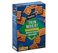Signature SELECT Crackers Baked Snack Thin Wheat Reduced Fat  - 9 Oz