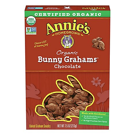 Annies Homegrown Bunny Grahams Graham Snacks Organic Baked Chocolate - 7.5 Oz