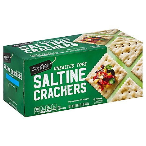 Signature SELECT/Kitchens Crackers Saltine Unsalted Tops - 16 Oz