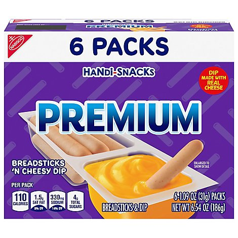 Handi-Snacks Premium Dip Breadsticks N Cheese Snack Packs - 6-1.09 Oz