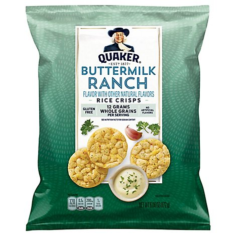 Quaker Popped Rice Crisps Gluten Free Buttermilk Ranch - 6.06 Oz
