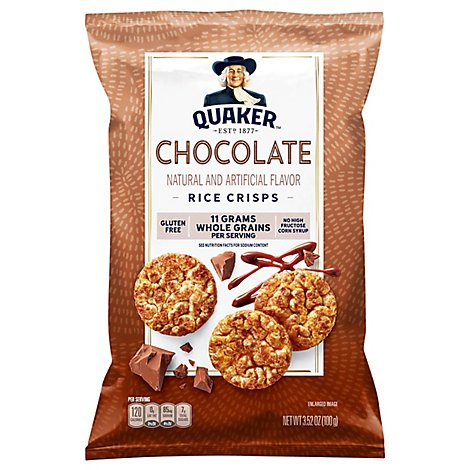 Quaker Popped Rice Crisps Gluten Free Chocolate - 3.52 Oz
