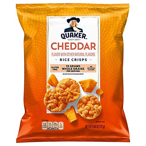 Quaker Popped Rice Crisps Cheddar Cheese - 6.06 Oz