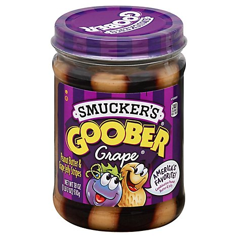 Smuckers Gooper Peanut Butter & Jelly Stripes Grape - 18 Oz