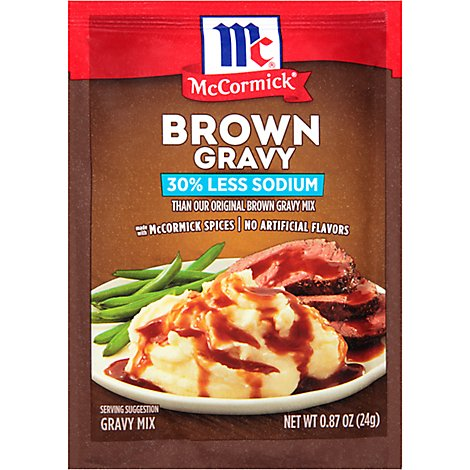 McCormick Gravy Mix Brown 30% Less Sodium - 0.87 Oz