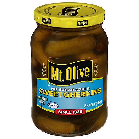 Mt. Olive No Sugar Added Pickles Sweet Gherkins - 16 Fl. Oz.