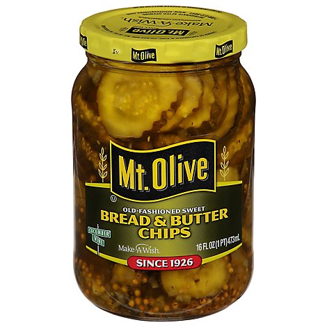Mt. Olive Pickles Chips Bread & Butter Old-Fashioned Sweet - 16 Fl. Oz.
