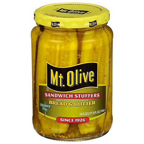 Mt. Olive Pickles Sandwich Stuffers Bread & Butter Old-Fashioned Sweet - 24 Fl. Oz.
