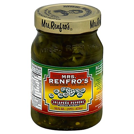Mrs.Renfros Peppers Jalapeno Nacho Sliced - 16 Fl. Oz.