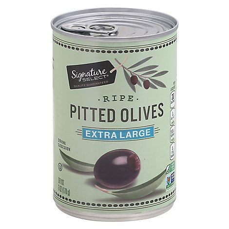 Signature SELECT Olives Pitted Ripe Extra Large Can - 6 Oz