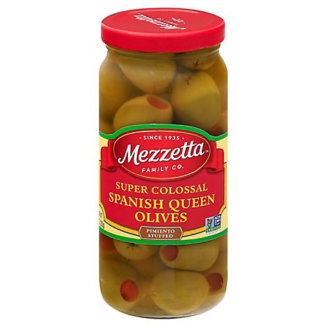 Mezzetta Olives Spanish Queen Super Colossal Pimiento Stuffed - 10 Oz