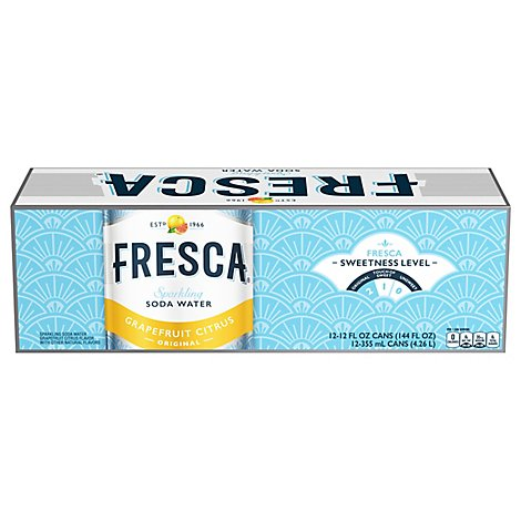 Fresca Soda Flavored Sparkling Sugar Free Zero Calorie Original Citrus In Can - 12-12 Fl. Oz.