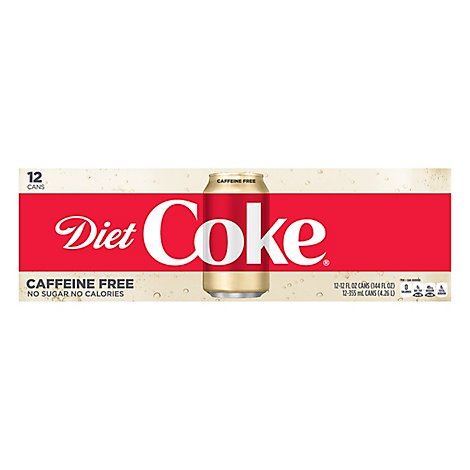 Diet Coke Caffeine Free Soda Soft Drink, 12 fl oz, 12 Pack