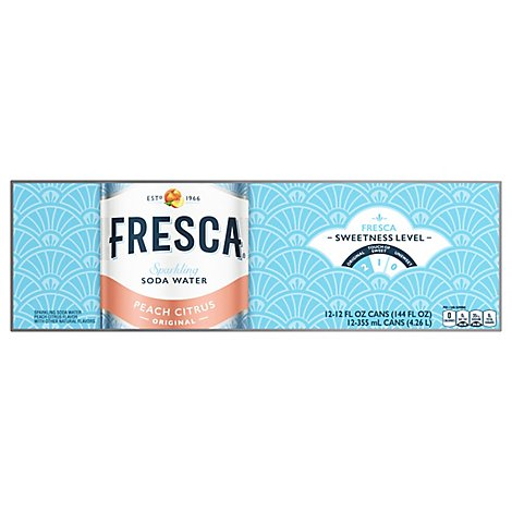 Fresca Peach Soda Sparkling Flavored Soft Drink Zero Calorie, 12 fl oz, 12 Pack