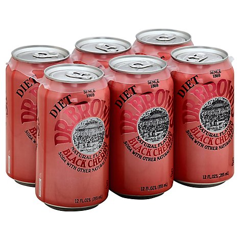 Dr Browns Diet Black Cherry Soda - 6-12 Fl. Oz.