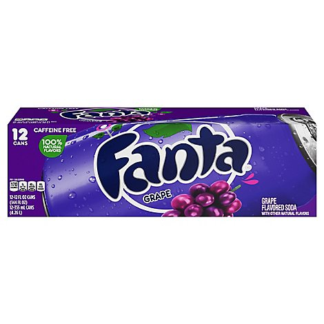 Fanta Soda Pop Grape Fruit Flavored 12 Count - 12 Fl. Oz.