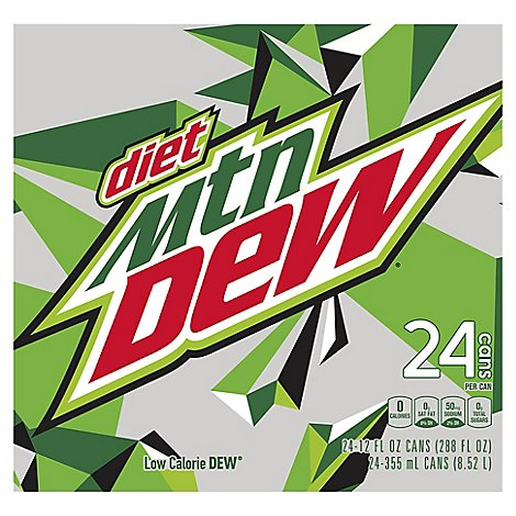 Mtn Dew Soda Diet Low Calorie - 24-12 Fl. Oz.