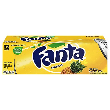 Fanta Soda Pop Pineapple Flavored In Can - 12-12 Fl. Oz.