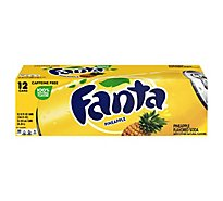 Fanta Pineapple Soda Fruit Flavored Soft Drink, 12 fl oz, 12 Pack