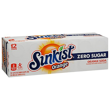 Sunkist Soda Zero Sugar Orange In Cans - 12-12 Fl. Oz.