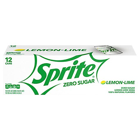 Sprite Zero Sugar Soda Pop Lemon Lime Pack In Cans - 12-12 Fl. Oz.