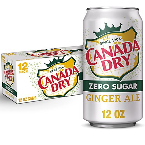 Canada Dry Soda Zero Sugar Ginger Ale Pack In Cans - 12-12 Fl. Oz.