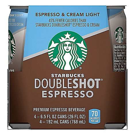 Starbucks Doubleshot Espresso Beverage Espresso & Cream Light - 4-6.5 Fl. Oz.
