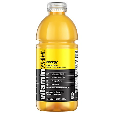 vitaminwater Water Beverage Nutrient Enhanced Energy Tropical Citrus - 32 Fl. Oz.