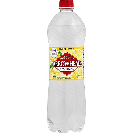 Arrowhead Mountain Spring Water Sparkling Lively Lemon - 33.8 Fl. Oz.