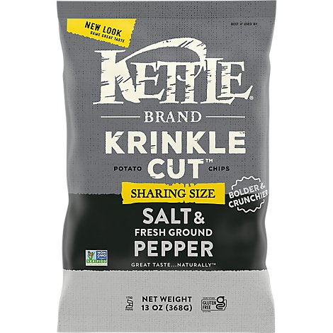 Kettle Potato Chips Krinkle Cut Salt & Fresh Ground Pepper - 13 Oz