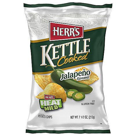 Herrs Potato Chips Kettle Cooked Jalapeno Flavored - 8 Oz