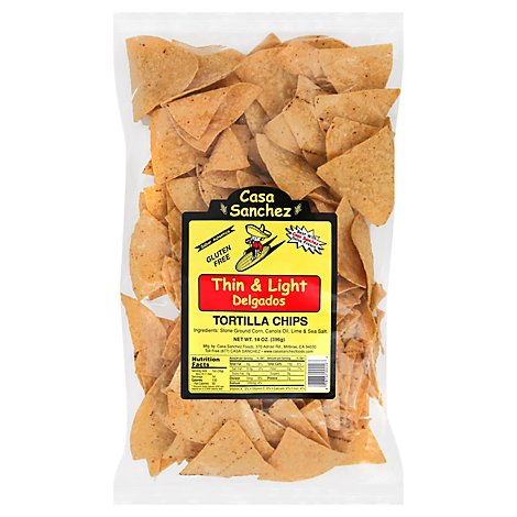 Casa Sanchez Foods Tortilla Chips Thin & Light- 14 Oz