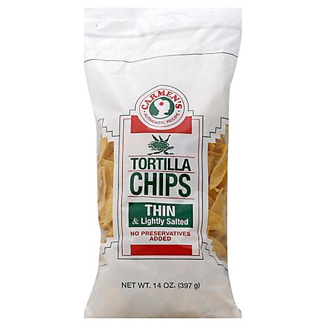 Carmens Tortilla Chips Thin & Lightly Salted - 14 Oz