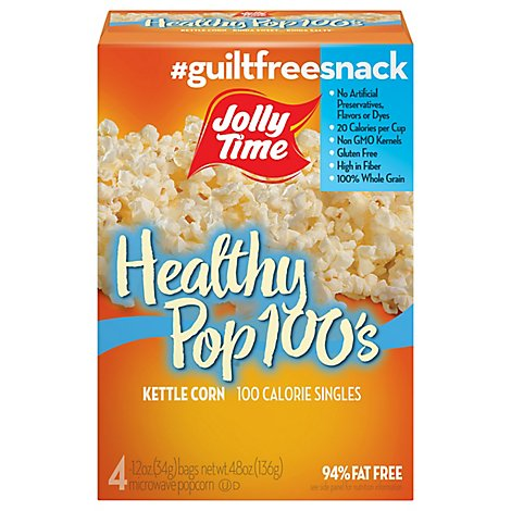 Jolly Time 100 Calorie Healthy Pop Microwave Popcorn Kettle Corn Mini Bags - 4-1.2 Oz